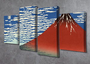 Red southern wind on Fiji on a clear morning by Hokusai 4 Split Panel Canvas - Canvas Art Rocks - 2