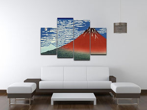 Red southern wind on Fiji on a clear morning by Hokusai 4 Split Panel Canvas - Canvas Art Rocks - 3