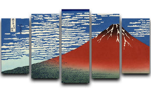 Red southern wind on Fiji on a clear morning by Hokusai 5 Split Panel Canvas  - Canvas Art Rocks - 1