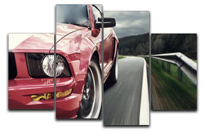 Red sport car 4 Split Panel Canvas  - Canvas Art Rocks - 1