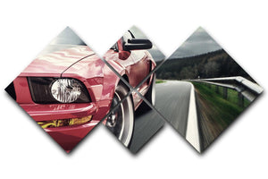 Red sport car 4 Square Multi Panel Canvas  - Canvas Art Rocks - 1