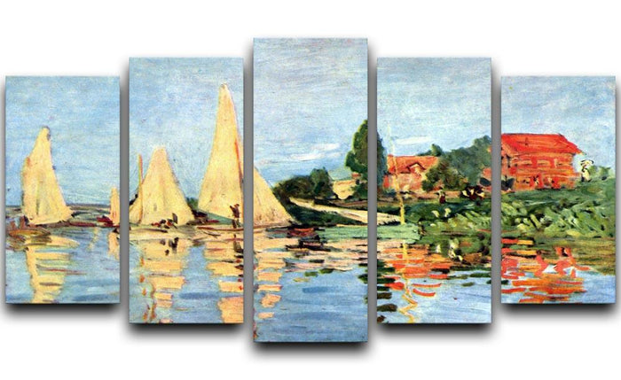 Regatta at Argenteuil by Monet 5 Split Panel Canvas