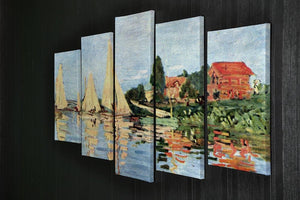 Regatta at Argenteuil by Monet 5 Split Panel Canvas - Canvas Art Rocks - 2