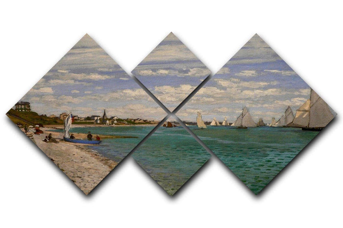 Regatta at St. Adresse by Monet 4 Square Multi Panel Canvas