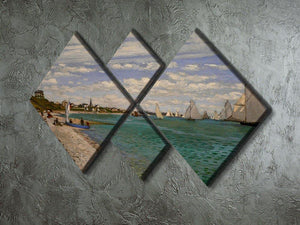 Regatta at St. Adresse by Monet 4 Square Multi Panel Canvas - Canvas Art Rocks - 2