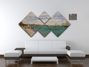 Regatta at St. Adresse by Monet 4 Square Multi Panel Canvas - Canvas Art Rocks - 3