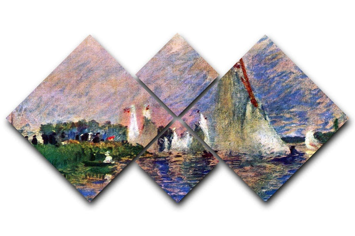 Regatta in Argenteuil by Renoir 4 Square Multi Panel Canvas