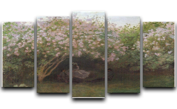 Repos sous les lilas 1872 by Monet 5 Split Panel Canvas