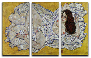 Resting nude by Egon Schiele 3 Split Panel Canvas Print - Canvas Art Rocks - 1