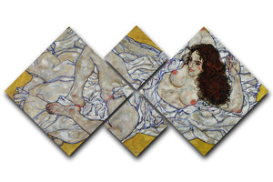 Resting nude by Egon Schiele 4 Square Multi Panel Canvas - Canvas Art Rocks - 1