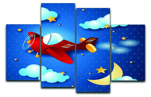 Retro airplane by night 4 Split Panel Canvas  - Canvas Art Rocks - 1