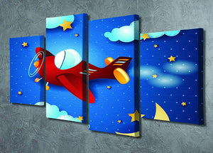Retro airplane by night 4 Split Panel Canvas - Canvas Art Rocks - 2