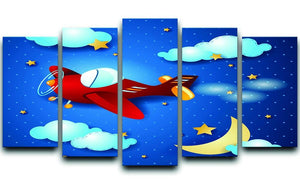 Retro airplane by night 5 Split Panel Canvas  - Canvas Art Rocks - 1