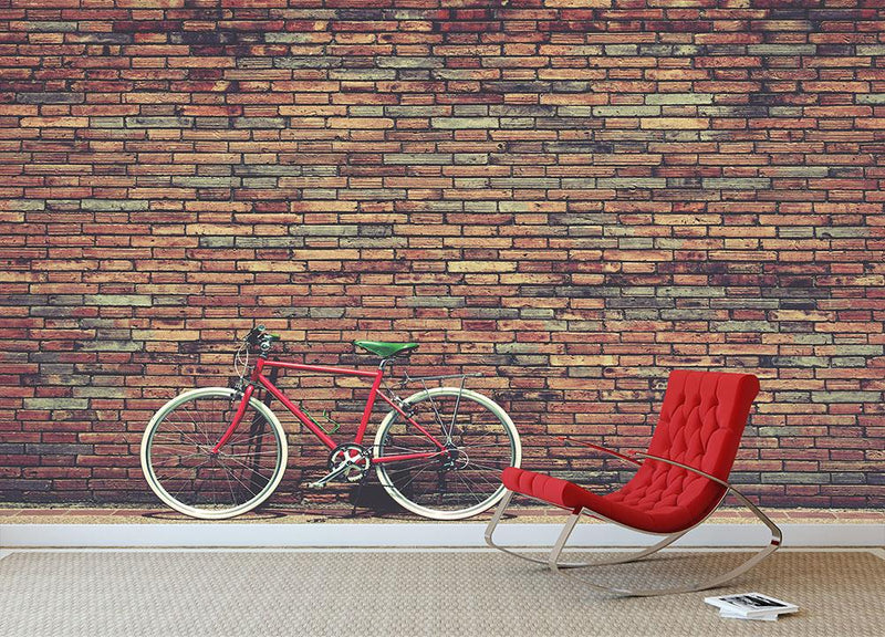 Retro bicycle on roadside Wall Mural Wallpaper - Canvas Art Rocks - 1