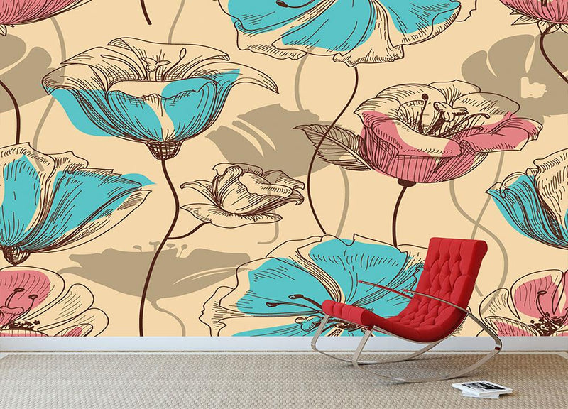 Retro floral seamless pattern Wall Mural Wallpaper - Canvas Art Rocks - 1