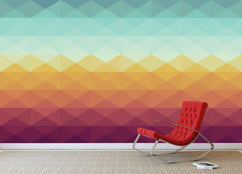 Retro hipsters triangle Wall Mural Wallpaper - Canvas Art Rocks - 1
