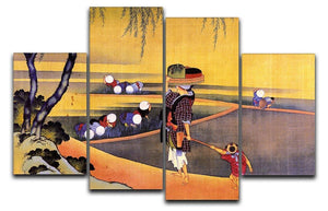 Rice fields by Hokusai 4 Split Panel Canvas  - Canvas Art Rocks - 1