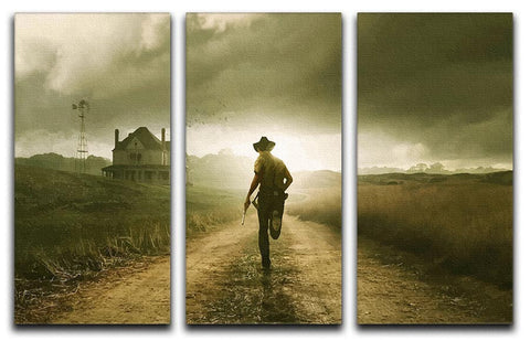 Rick Running The Walking Dead 3 Split Panel Canvas Print
