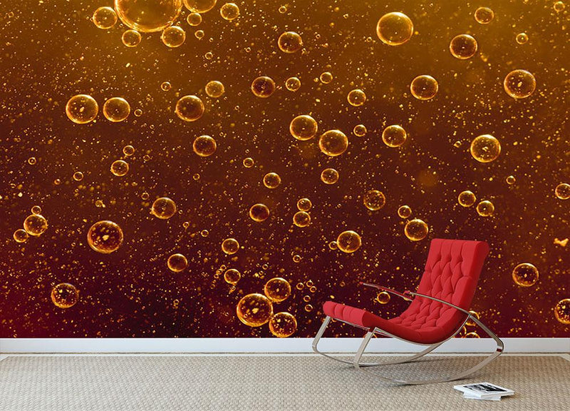 Rising orange bubbles Wall Mural Wallpaper - Canvas Art Rocks - 1