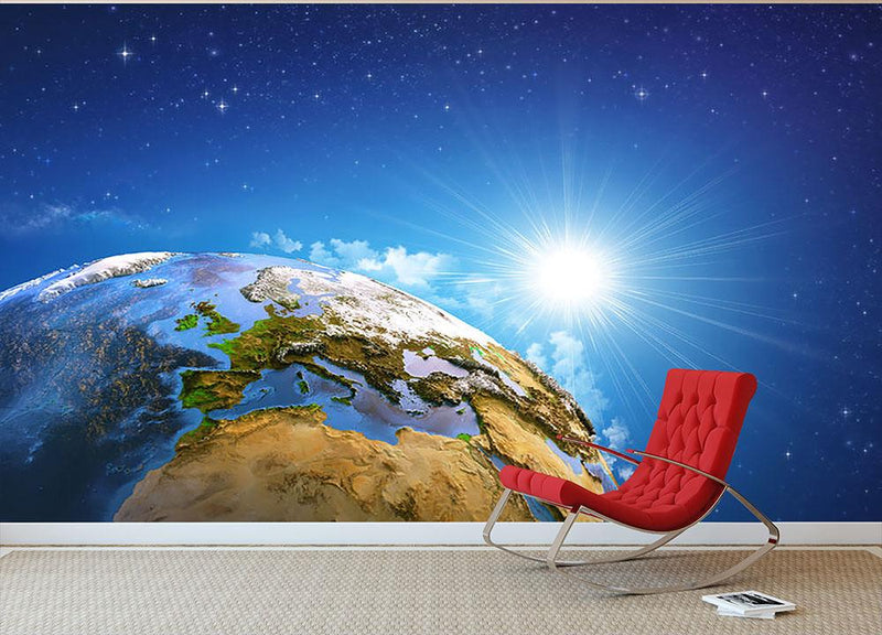 Rising sun over the Earth and its landforms Wall Mural Wallpaper - Canvas Art Rocks - 1