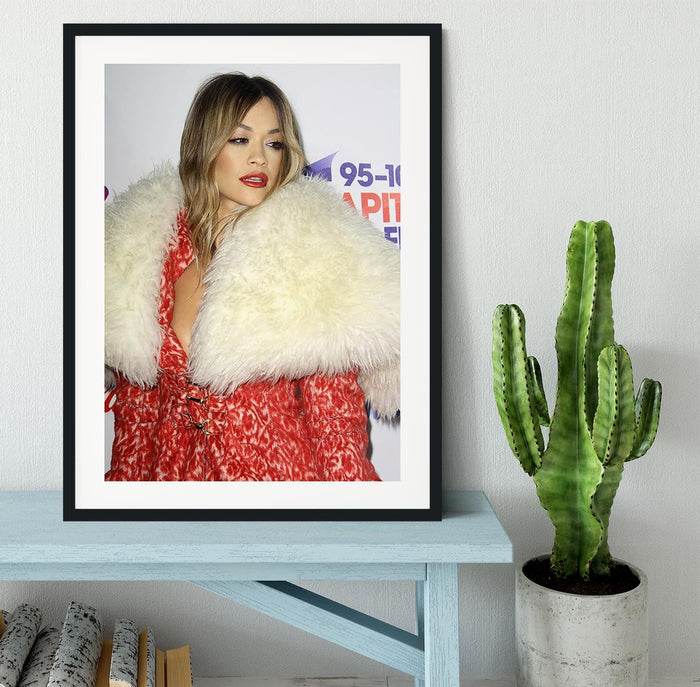 Rita Ora in red Framed Print