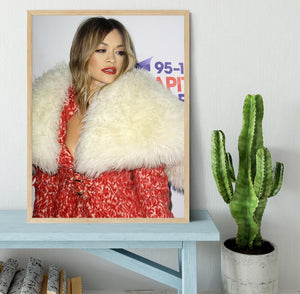 Rita Ora in red Framed Print - Canvas Art Rocks - 4