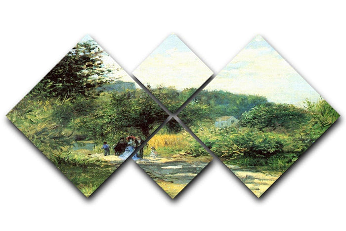 Road to Louveciennes by Renoir 4 Square Multi Panel Canvas