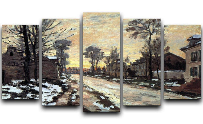 Road to Louveciennes melting snow children sunset by Monet 5 Split Panel Canvas