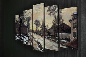 Road to Louveciennes melting snow children sunset by Monet 5 Split Panel Canvas - Canvas Art Rocks - 2