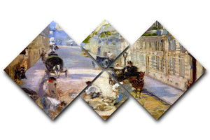 Road workers rue de Berne by Manet 4 Square Multi Panel Canvas  - Canvas Art Rocks - 1