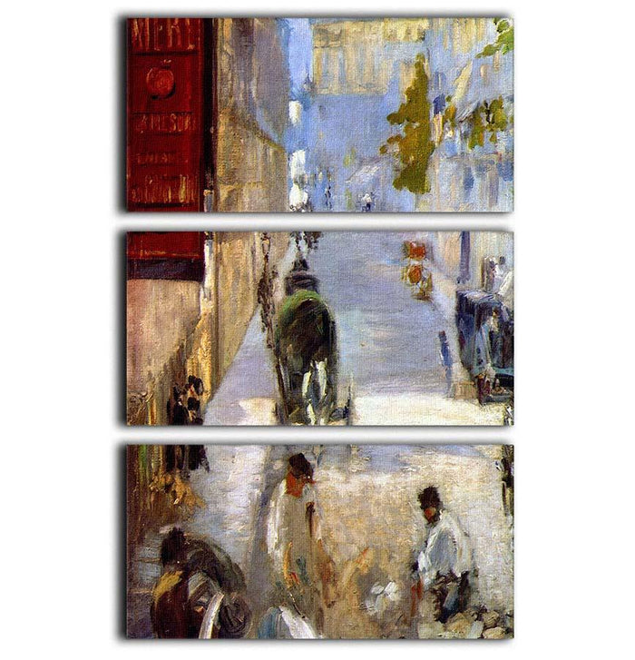 Road workers rue de Berne detail by Manet 3 Split Panel Canvas Print