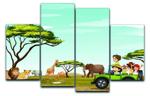 Roadtrip in the field full of animals 4 Split Panel Canvas  - Canvas Art Rocks - 1