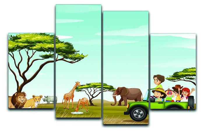 Roadtrip in the field full of animals 4 Split Panel Canvas