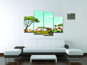 Roadtrip in the field full of animals 4 Split Panel Canvas - Canvas Art Rocks - 3