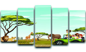 Roadtrip in the field full of animals 5 Split Panel Canvas  - Canvas Art Rocks - 1