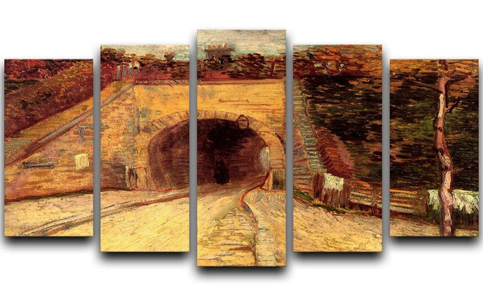 Roadway with Underpass The Viaduct by Van Gogh 5 Split Panel Canvas