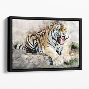 Roaring Tiger Floating Framed Canvas