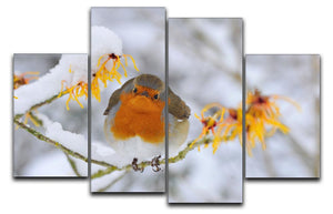 Robin in the Snow 4 Split Panel Canvas - Canvas Art Rocks - 1