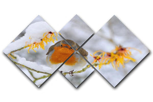 Robin in the Snow 4 Square Multi Panel Canvas - Canvas Art Rocks - 1