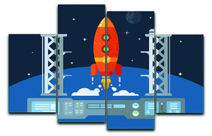 Rocket Startup Flat Desing Concept 4 Split Panel Canvas  - Canvas Art Rocks - 1
