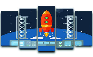 Rocket Startup Flat Desing Concept 5 Split Panel Canvas  - Canvas Art Rocks - 1