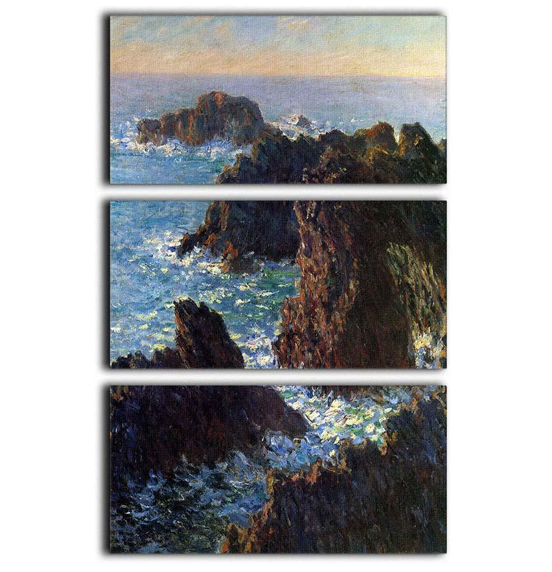 Rocky peaks at the Belle Ile by Monet 3 Split Panel Canvas Print - Canvas Art Rocks - 1