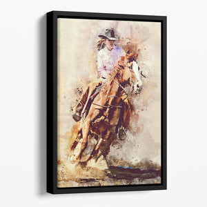 Rodeo Painting Floating Framed Canvas