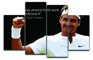 Roger Federer Hard Work 4 Split Panel Canvas  - Canvas Art Rocks - 1