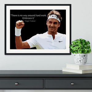 Roger Federer Hard Work Framed Print - Canvas Art Rocks - 1