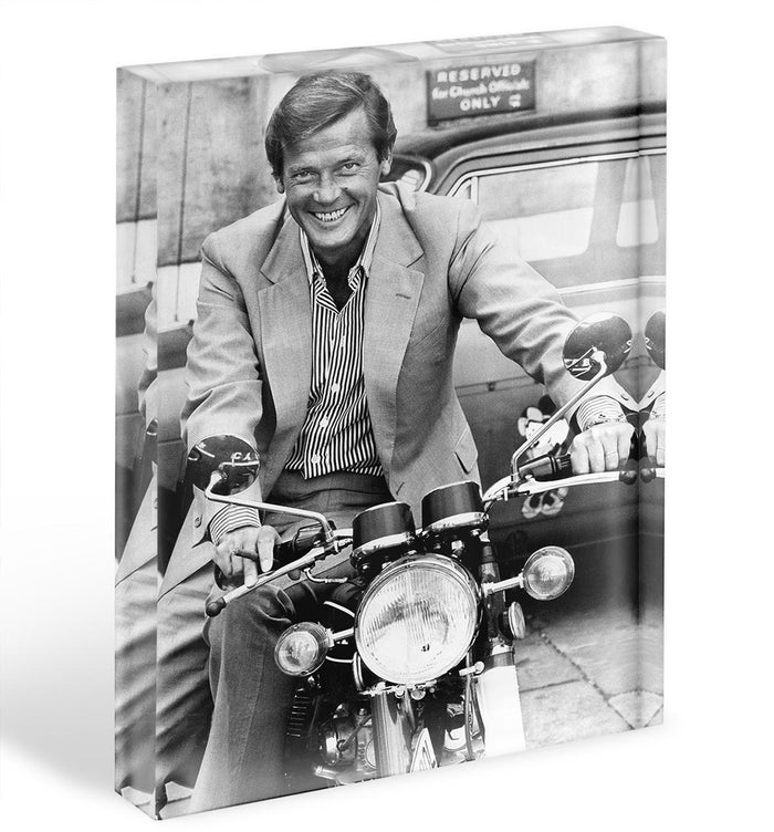 Roger Moore on a motorbike Acrylic Block