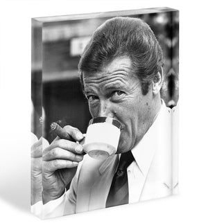 Roger Moore With Coffee And A Cigar Acrylic Block