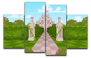 Romantic Castle Landscape 4 Split Panel Canvas  - Canvas Art Rocks - 1