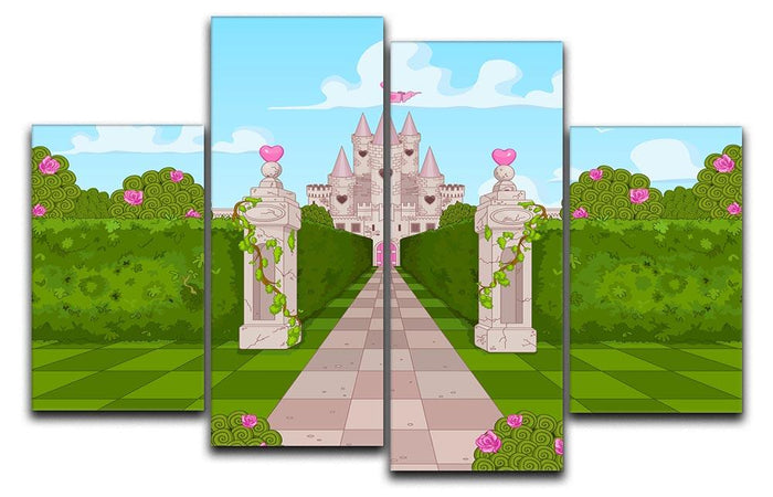 Romantic Castle Landscape 4 Split Panel Canvas
