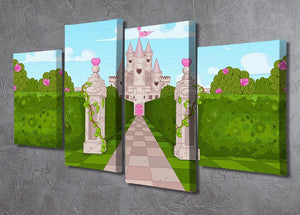 Romantic Castle Landscape 4 Split Panel Canvas - Canvas Art Rocks - 2